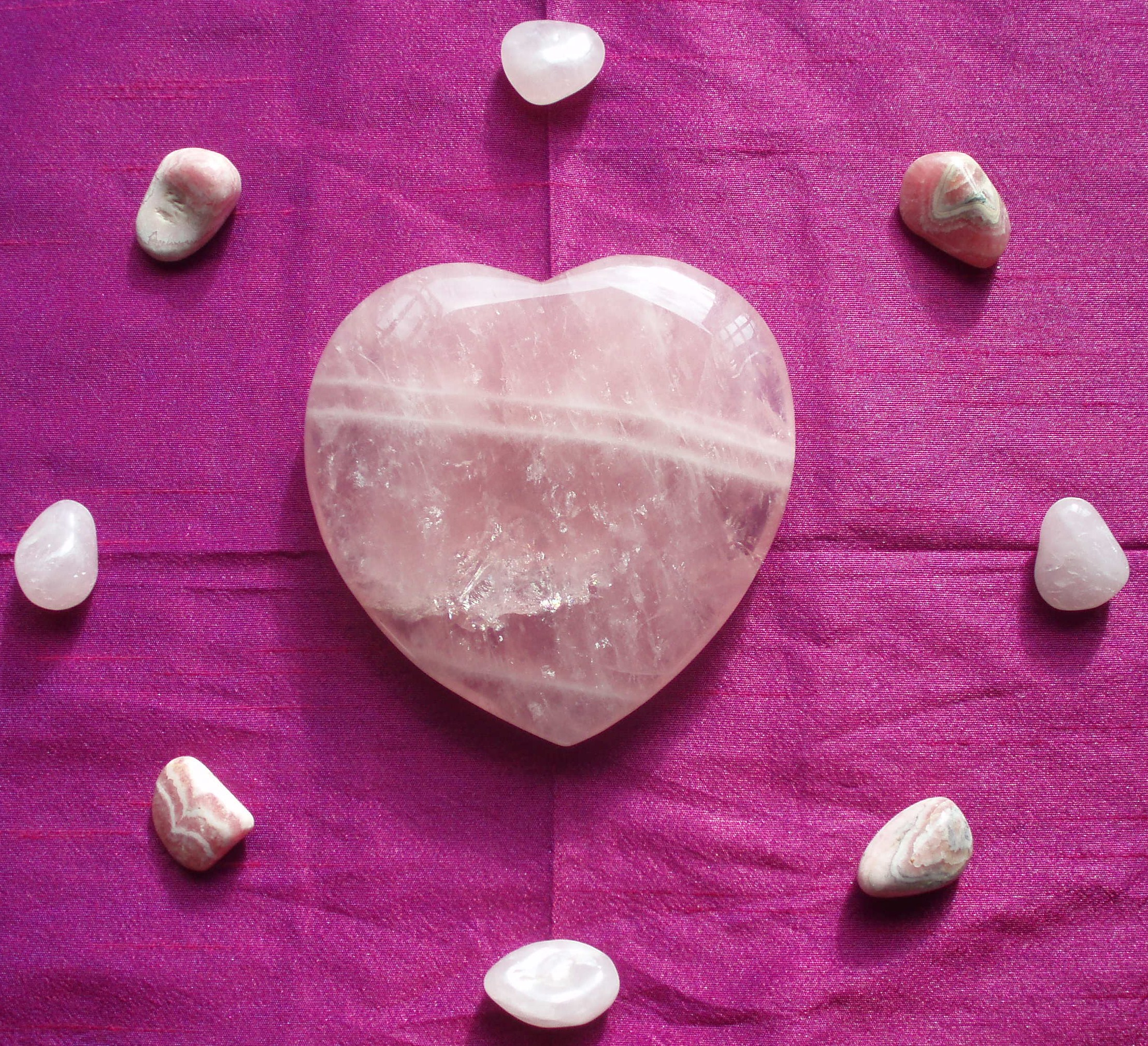 Roase Quartz Heart and Rhodocrosite